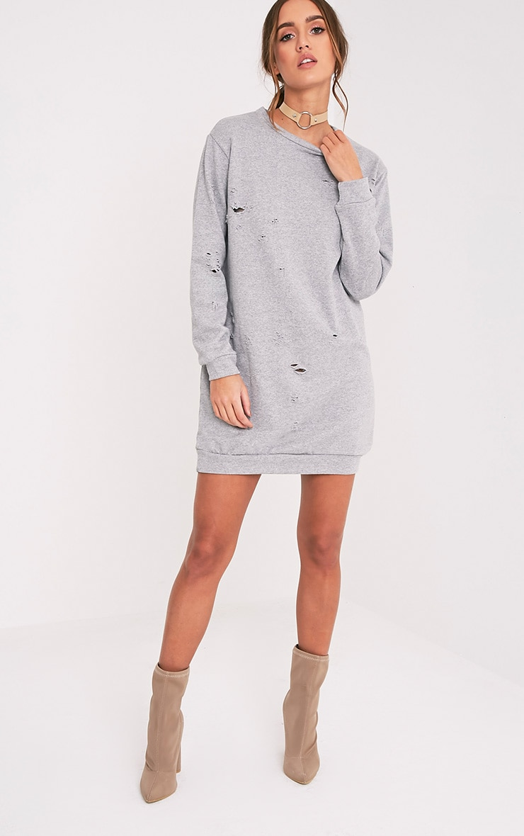 Violet Grey Distressed Long Sleeve Sweater Dress 5