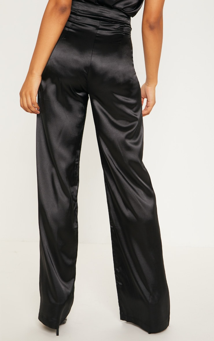 Tall Black Satin Wide Leg Trouser 4