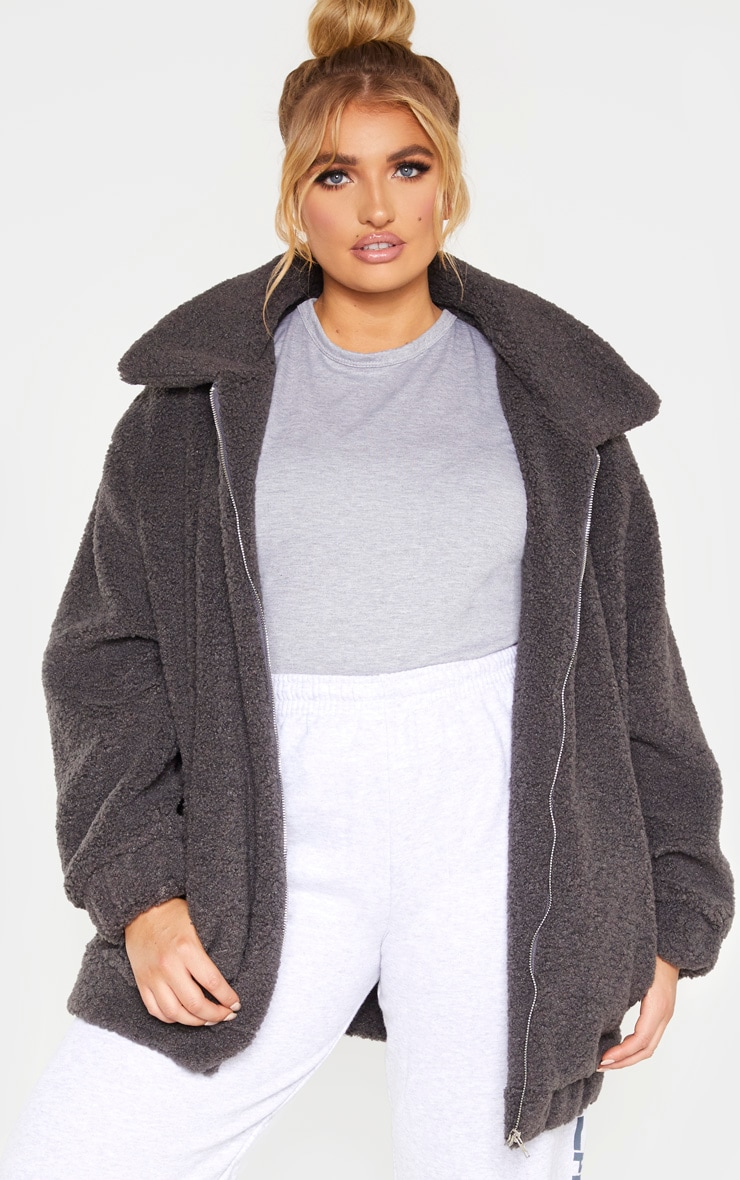 Plus Charcoal Teddy Bomber Coat 1