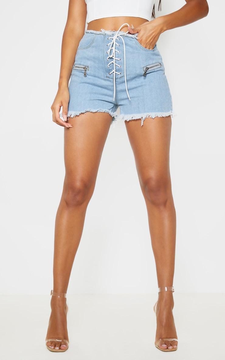 Light Wash Lace Up Front Denim Shorts 2