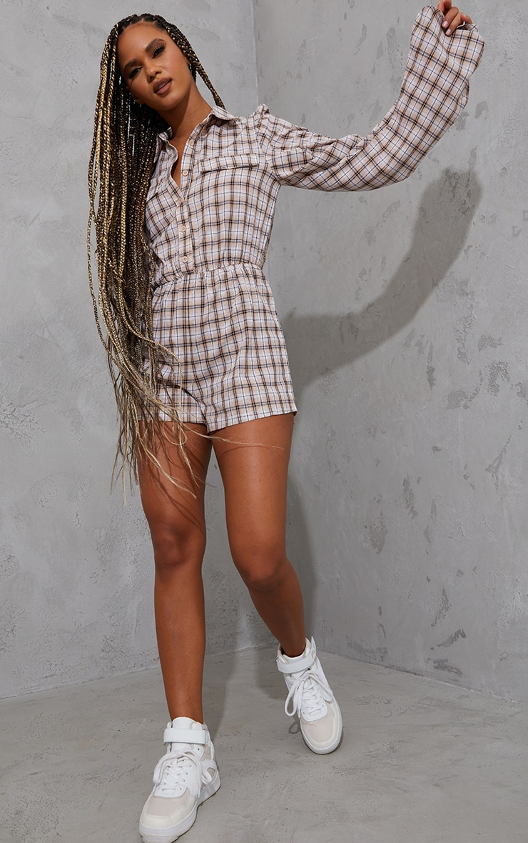 Brown Check Ruched Sleeve Shirt Playsuit 1