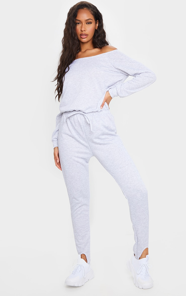 Grey Marl Sweat Bardot Stirrup Jumpsuit 1