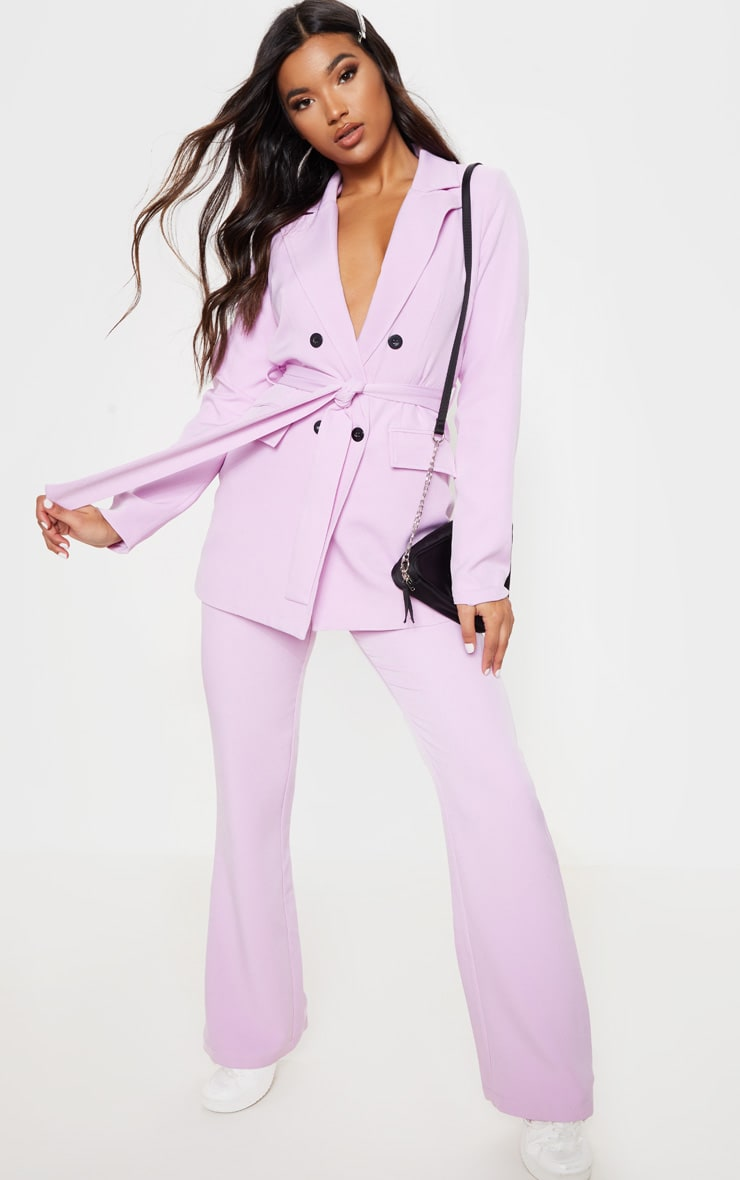Lilac Belted Long Line Woven Blazer 4