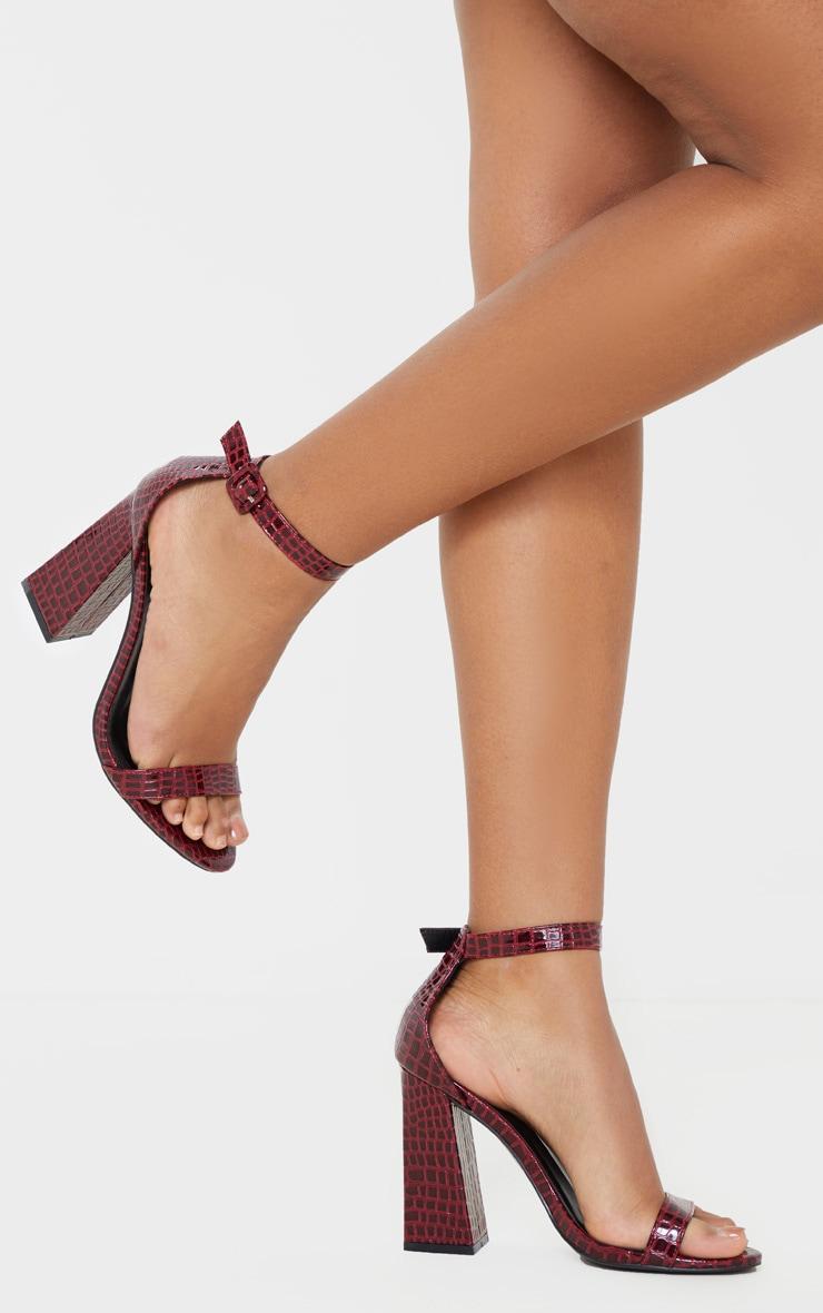 Burgundy Snake Square Buckle Ankle Strap Block Heel Sandal 1