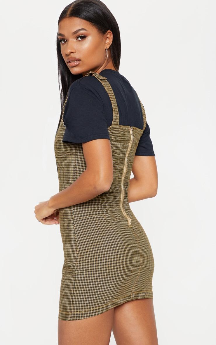 Check Square Neck Hook Detail Denim Dress 2
