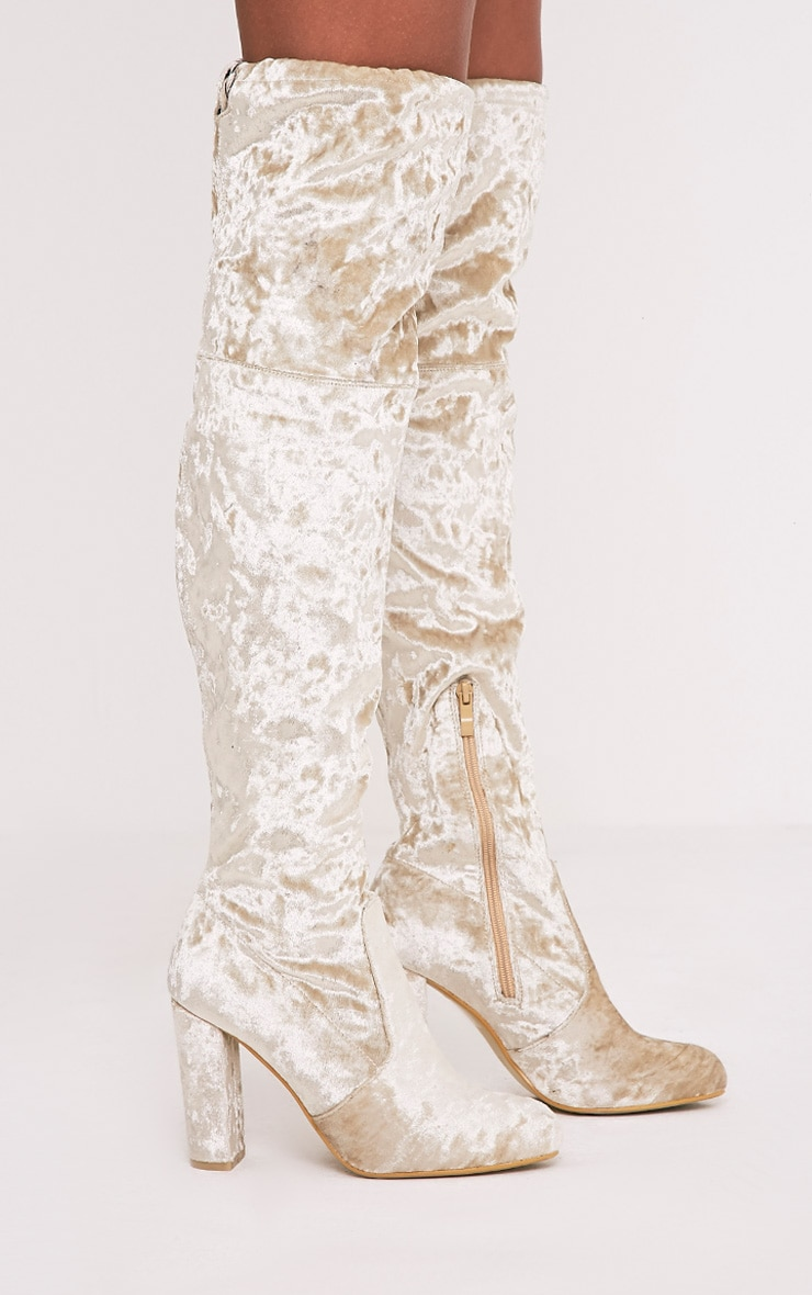 Bess Champagne Crushed Velvet Heeled Thigh Boots 4