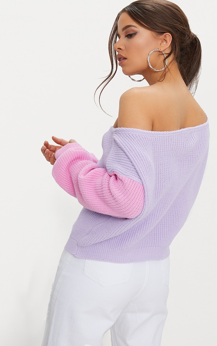 Lilac Off Shoulder Cropped Colour Block Sweater 2