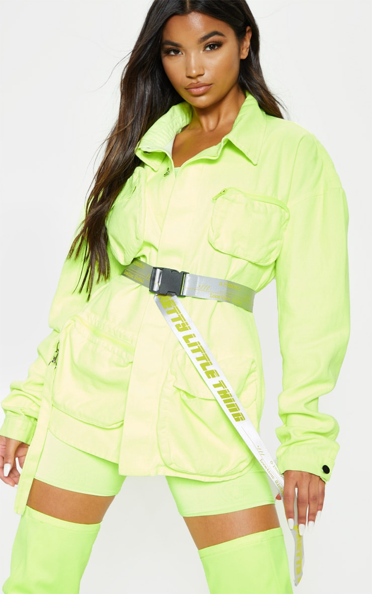 PRETTYLITTLETHING Neon Lime Taping Belt 1