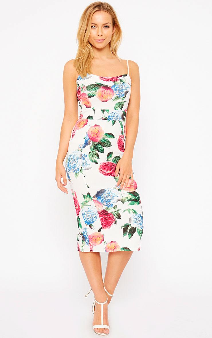 Filipa White Floral Midi Dress 3