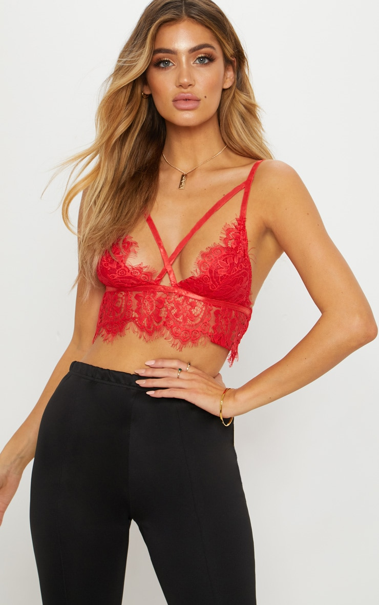 Red Lace Harness Bralet 1