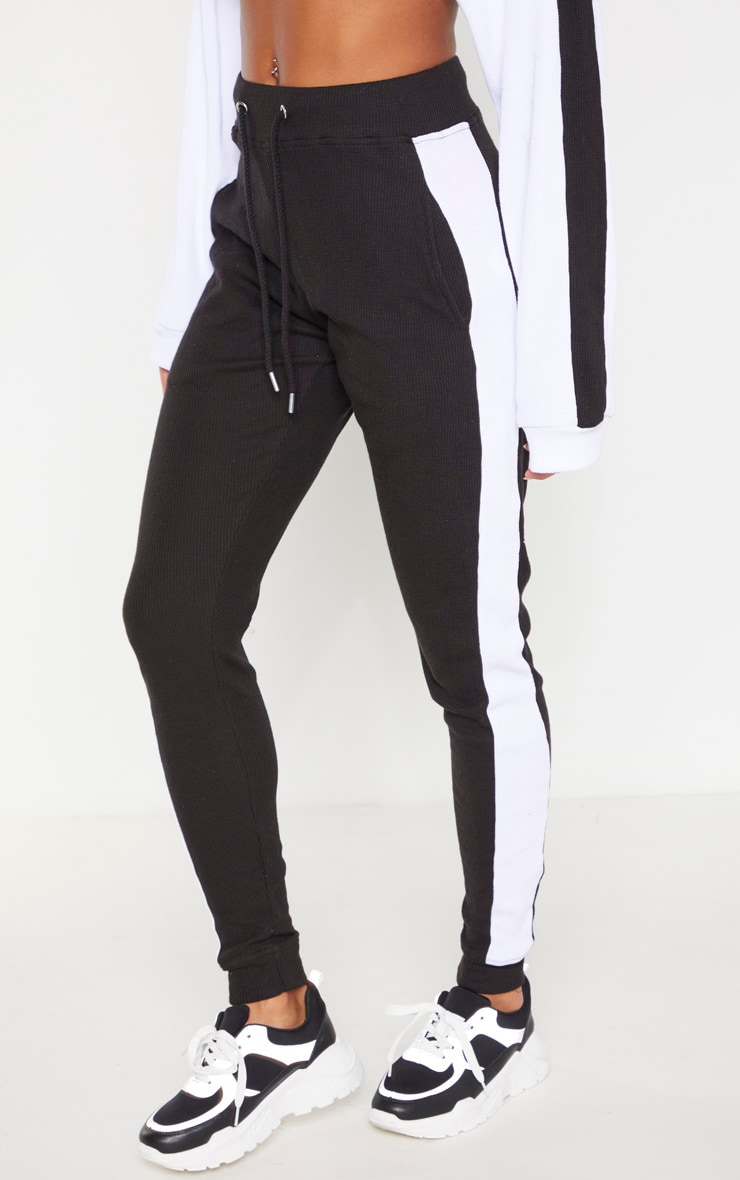 Black Waffle High Waisted Side Stripe Jogger 2