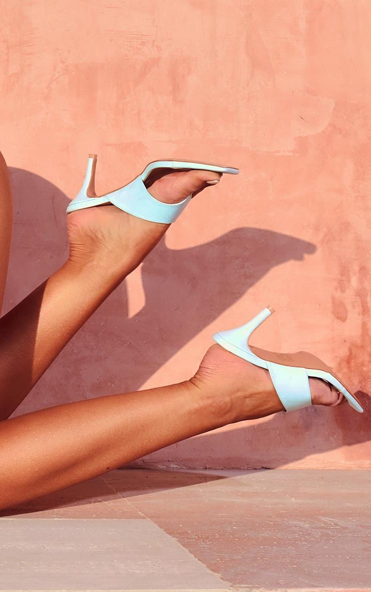 Blue Square Toe Thong Mule Heels 1