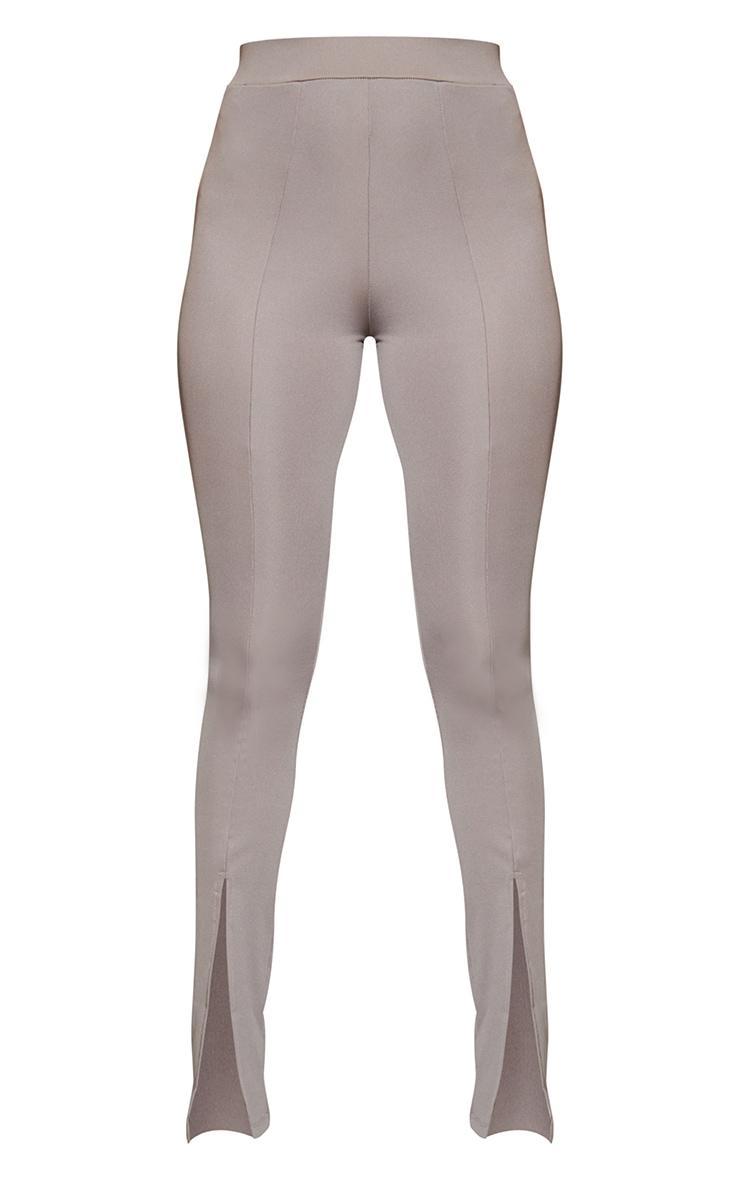Charcoal Grey Stretch Scuba Skinny Split Hem Trousers 5