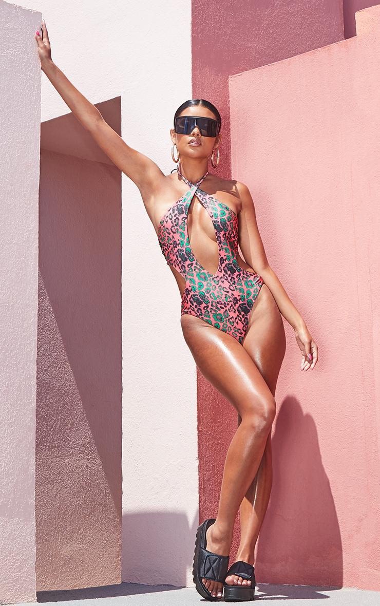 Pink Leopard Lace Back Plunge Swimsuit 5