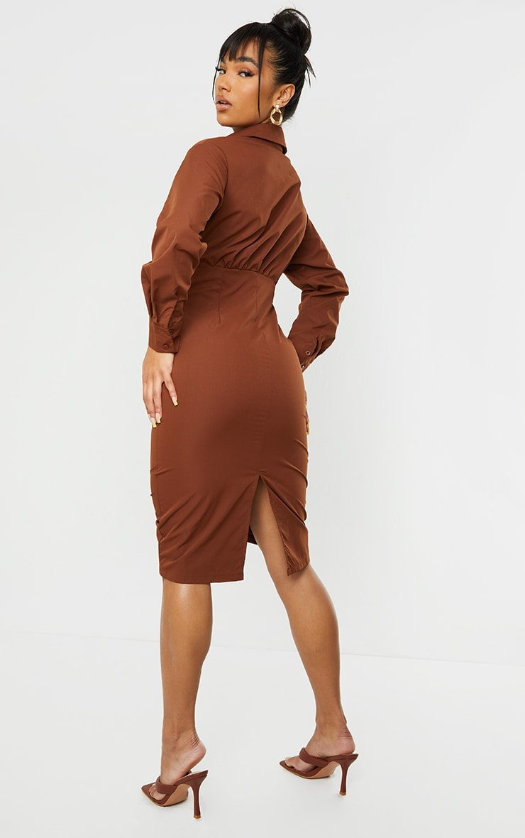 Chocolate Cut Out Ruched Skirt Detail Long Sleeve Shirt Dress 2