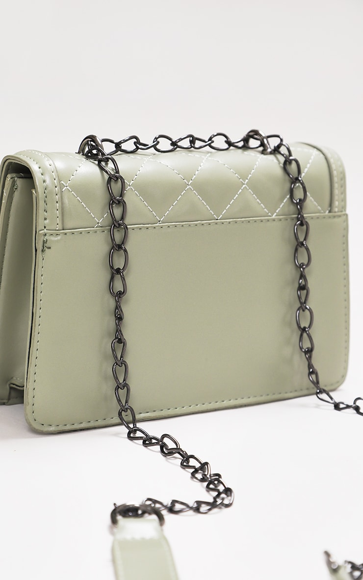 Sage Green Quilted Cross Body Bag 3