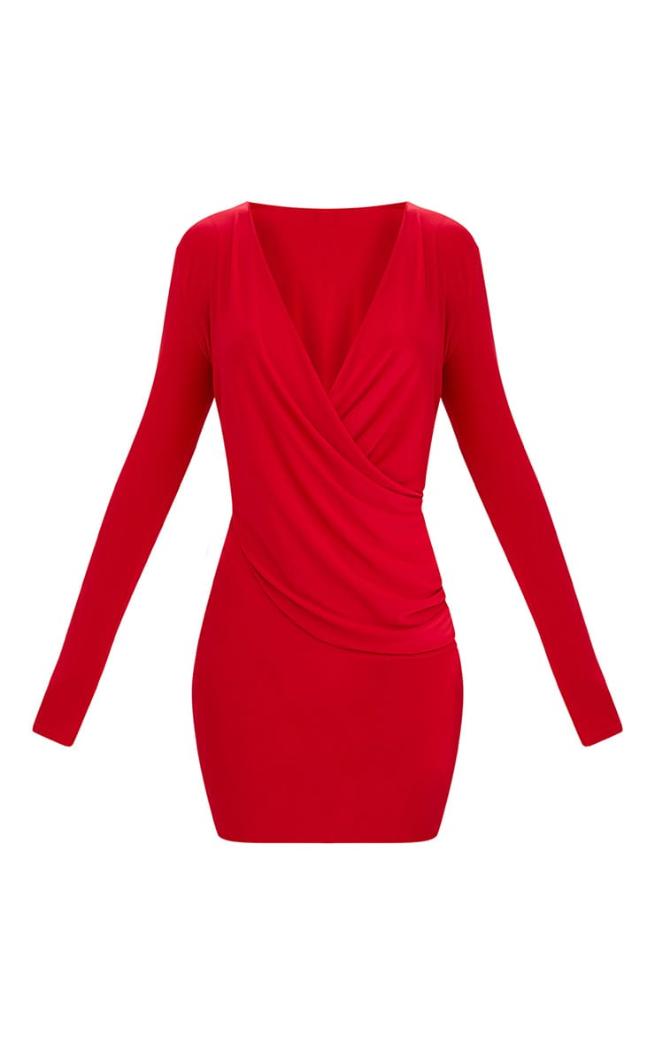 Red Slinky Ruched Wrap Over Bodycon Dress 3