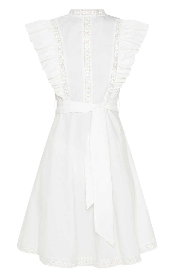 White Frill Sleeve Binding Detail Skater Dress 3