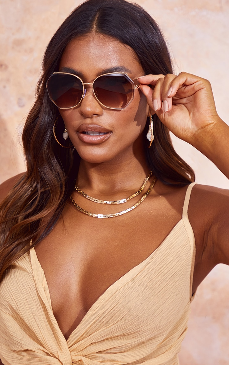 Brown Fade Framed Hex Sunglasses 1