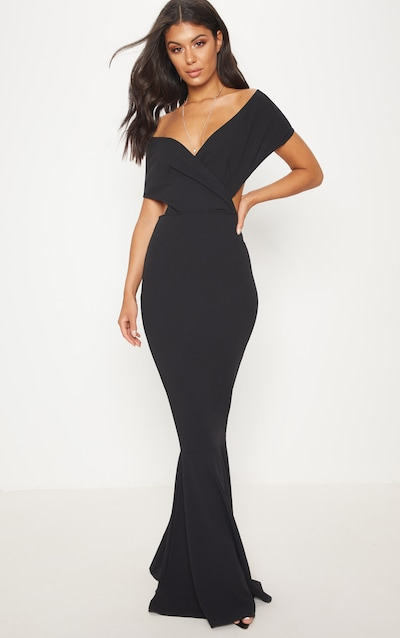 Black Bardot Cut Out Fishtail Maxi Dress