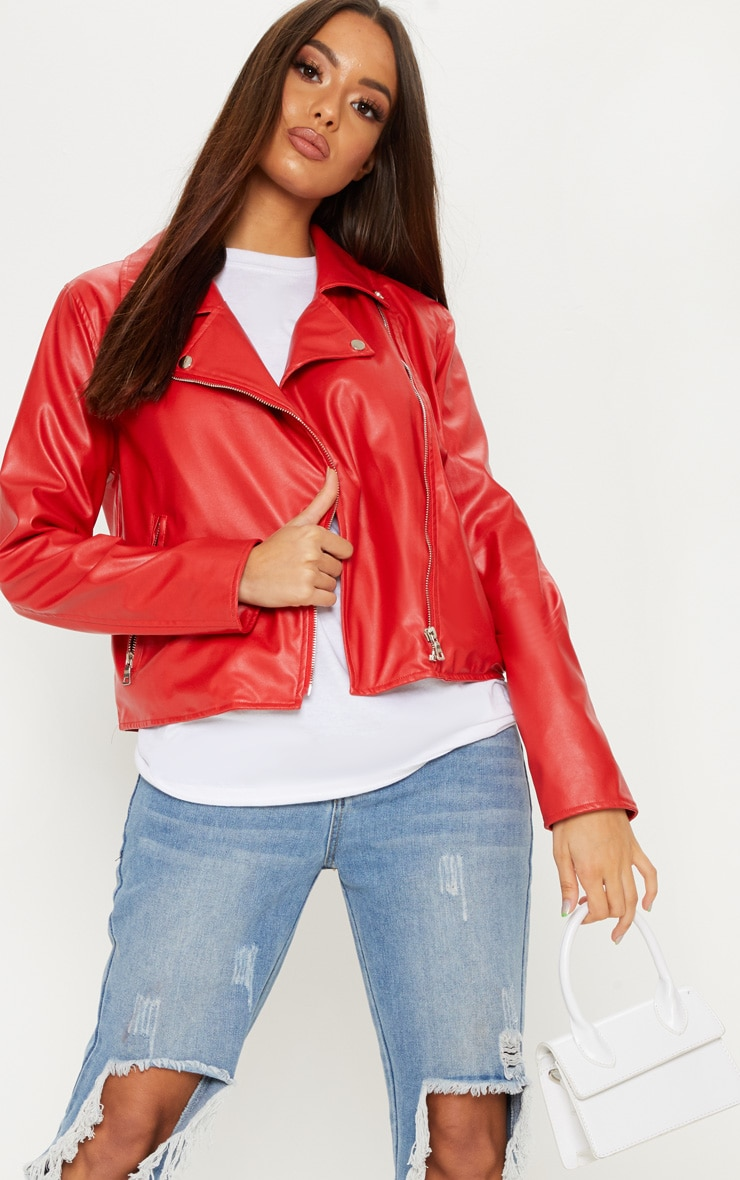 Bright Red PU Biker Jacket 1