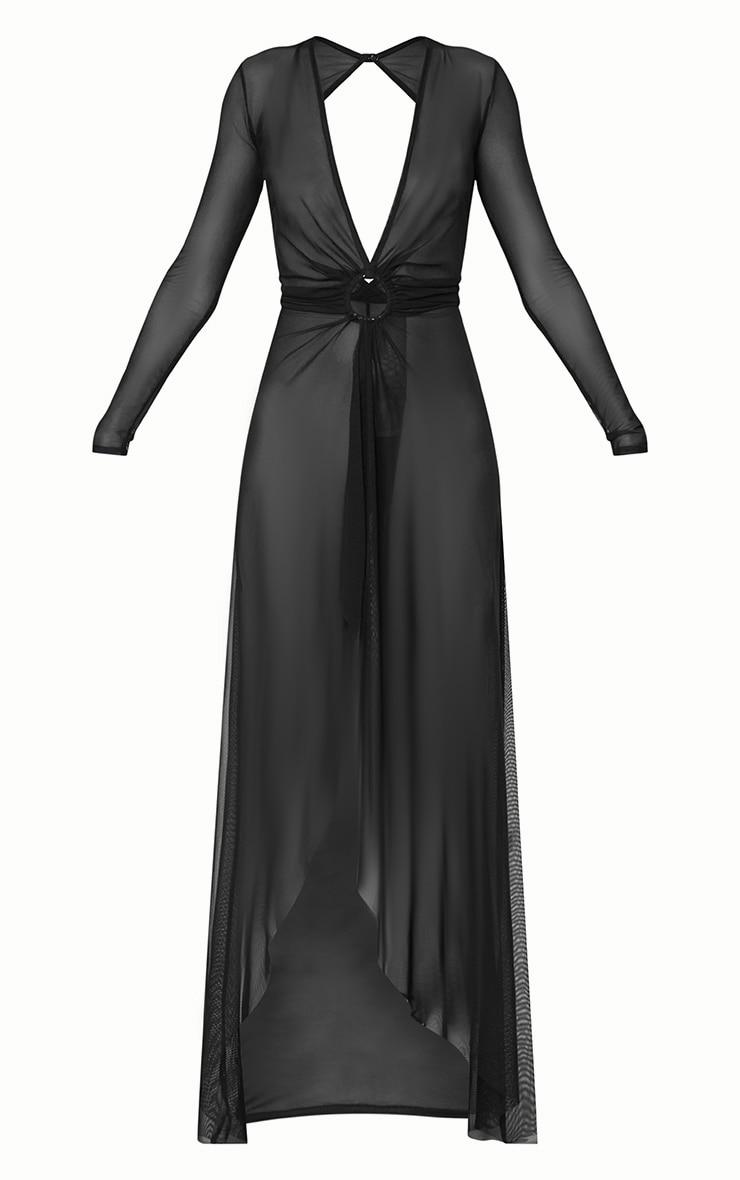 Black Ring Detail Mesh Maxi Dress 3