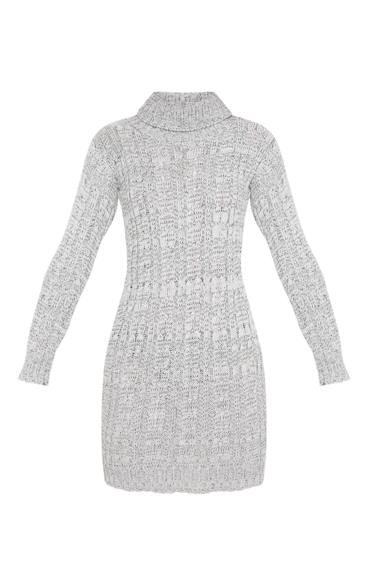 Grey Cable Knit High Neck Jumper Dress 3