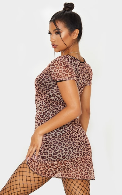Brown Leopard Print Mesh Ruched Bodycon Dress