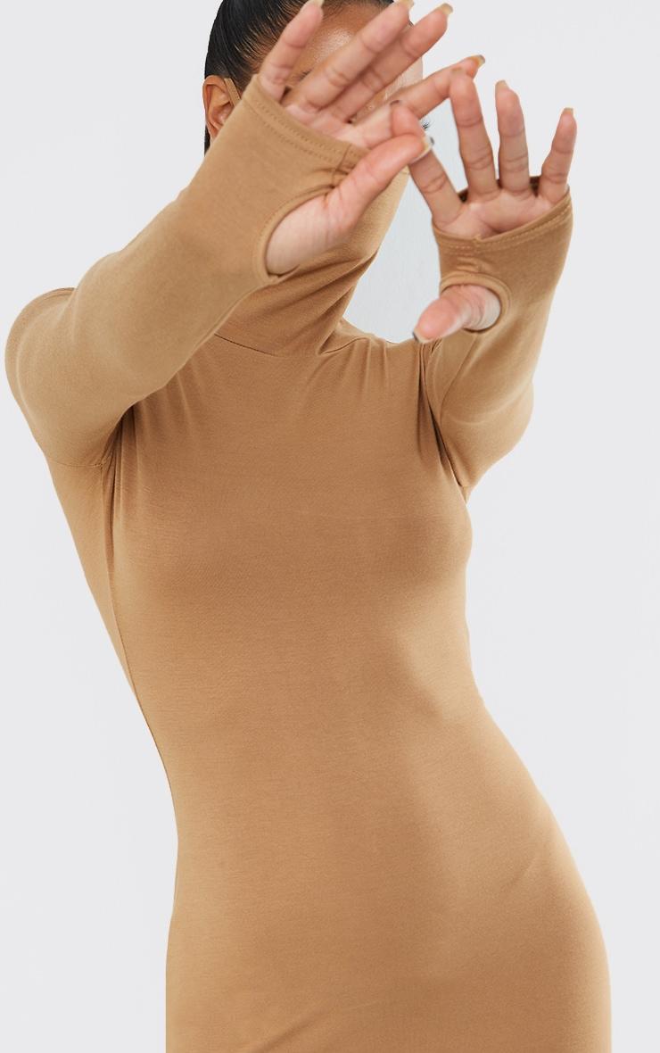 Robe moulante en jersey gris pierre à manches longues et détail masque 4