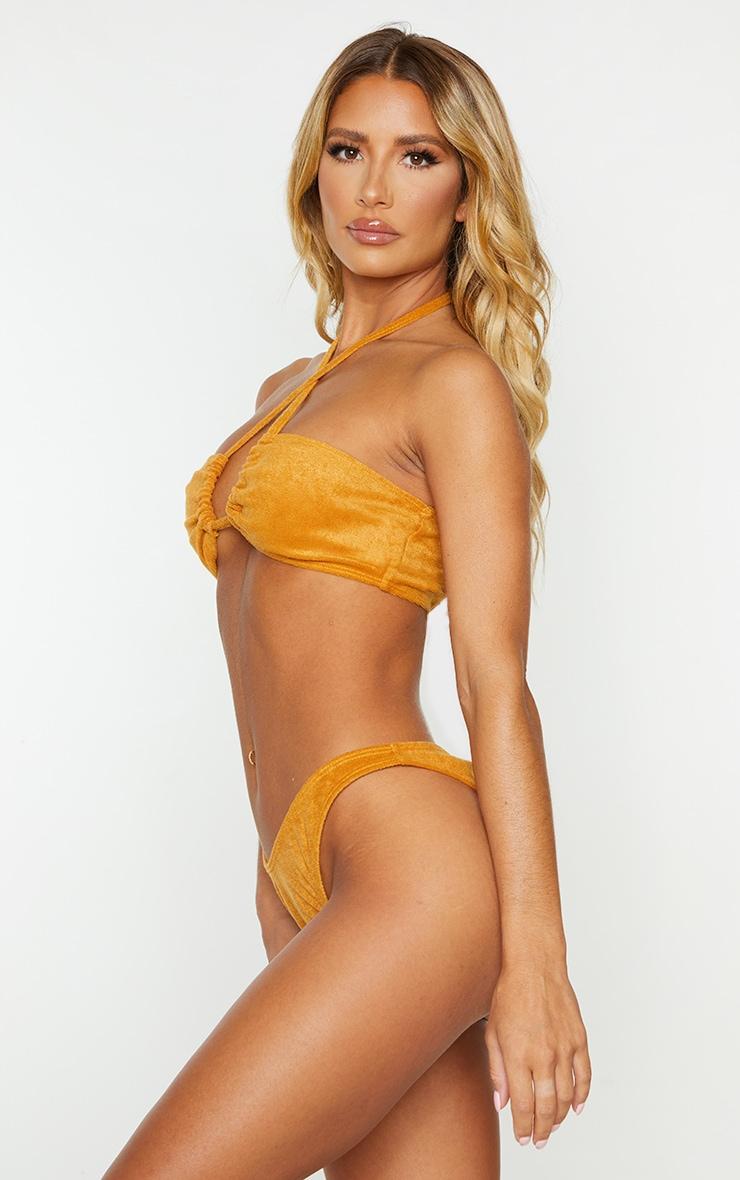 Mustard Towel Ruched Back High Leg Bikini Bottom 2