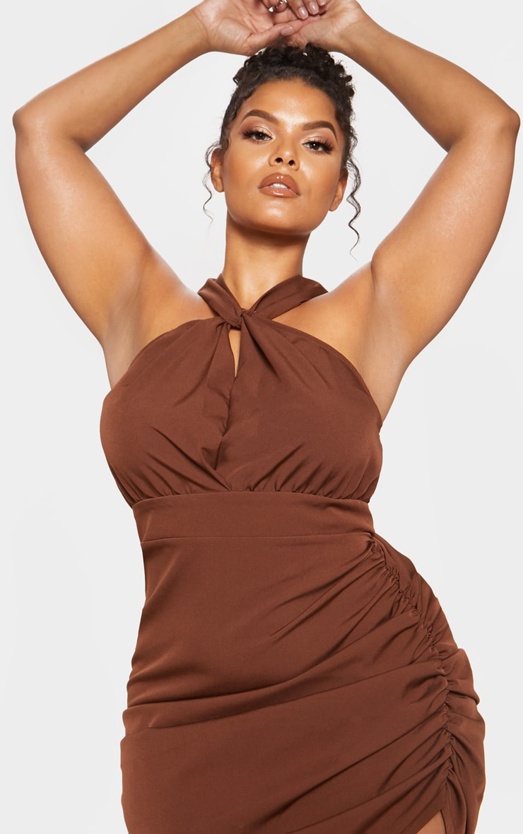 Chocolate Brown Ruched Side High Neck Midi Dress 6