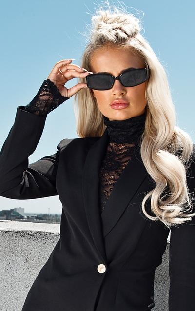 Black Sheer Lace Bodysuit