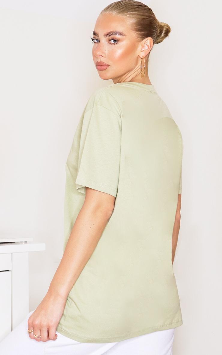 PRETTYLITTLETHING Sage Khaki Embroidered T Shirt 2