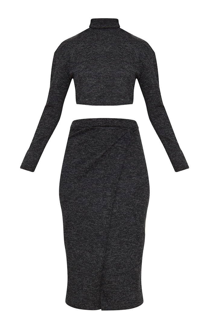 Charcoal Roll Neck Co ord Skirt Set 3