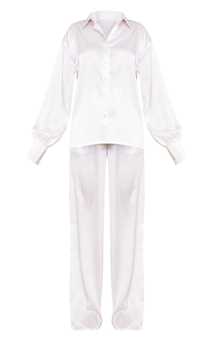 Ivory Oversized Long Satin Pj Set 5
