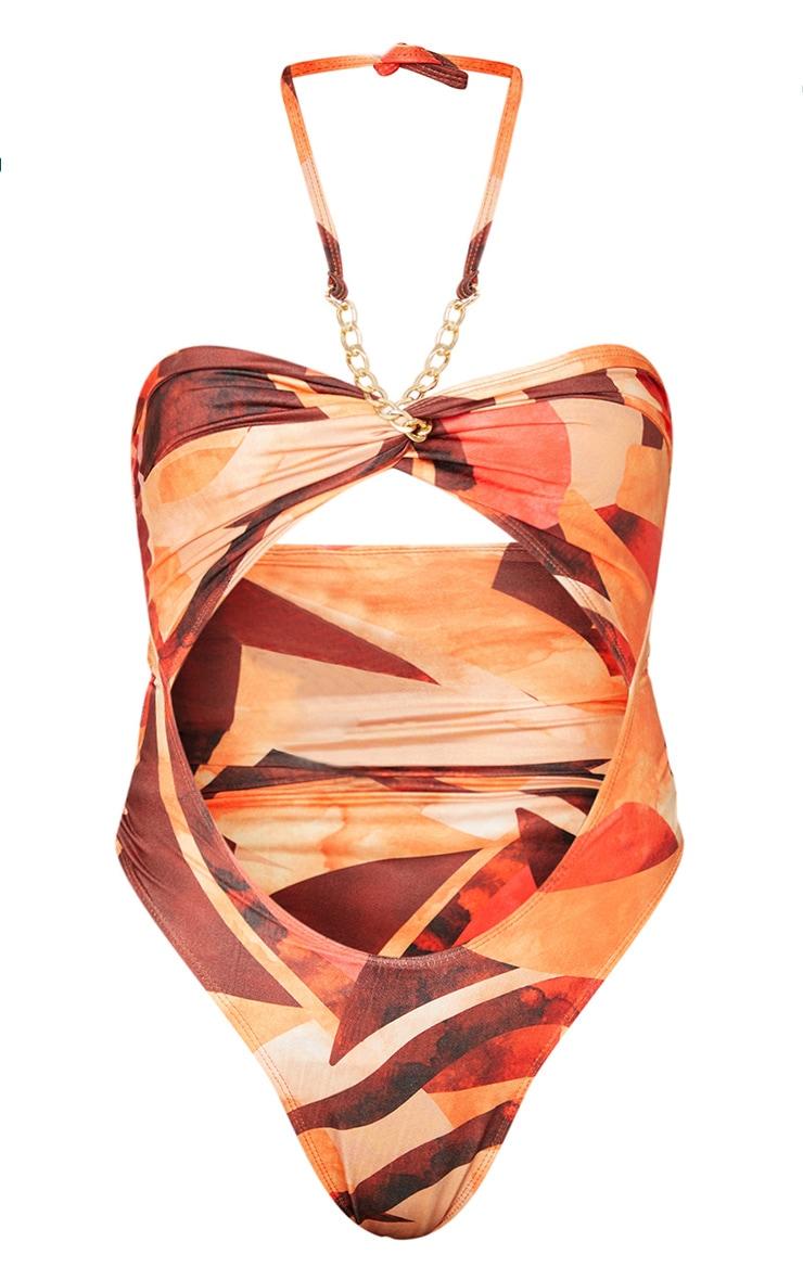 Plus Orange Abstract Print Bandeau Chain Cut Out Swimsuit 5