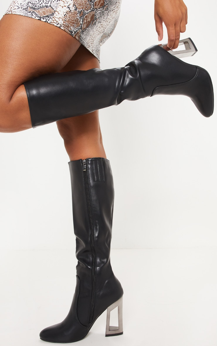 Black Metal Heel PU Calf Boot