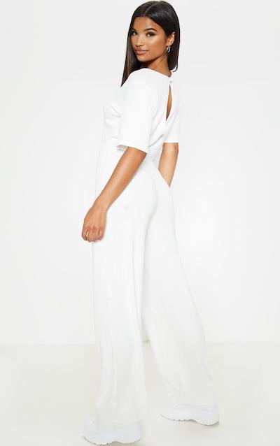 White Soft Rib Short Sleeve Jumpsuit