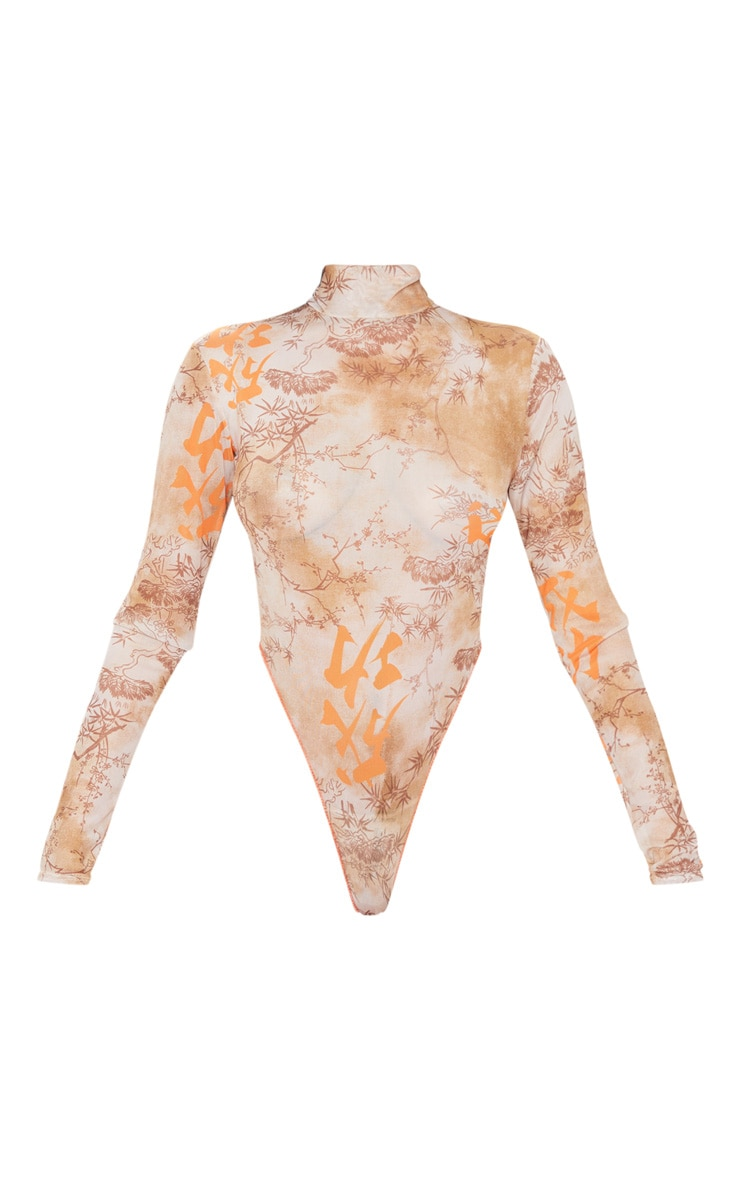 Nude Oriental Print Mesh High Neck Bodysuit 3
