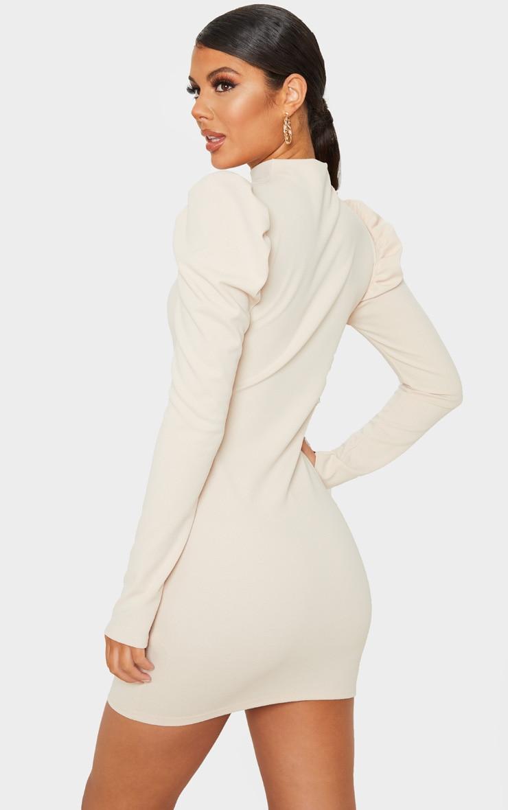 Stone High Neck Puff Shoulder Bodycon Dress 2