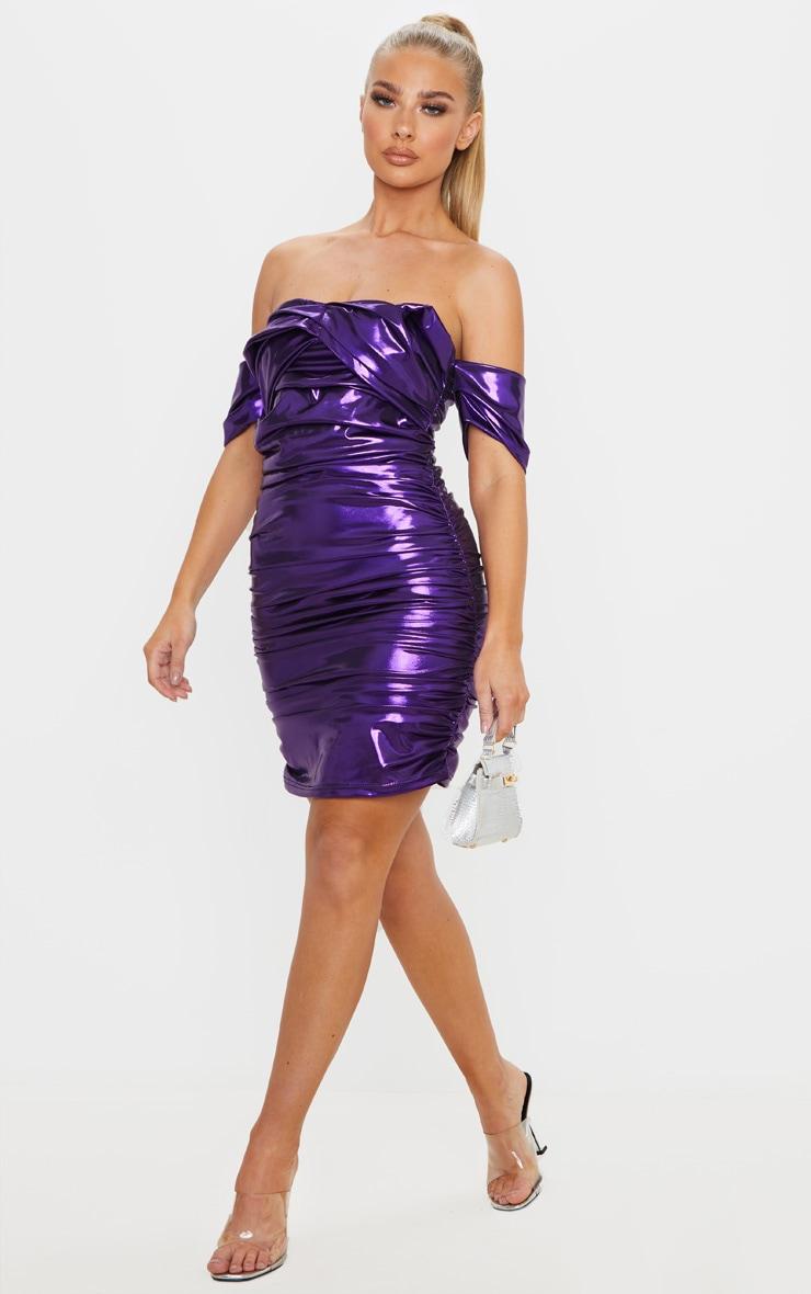 Purple Metallic Ruched Bardot Bodycon Dress 4