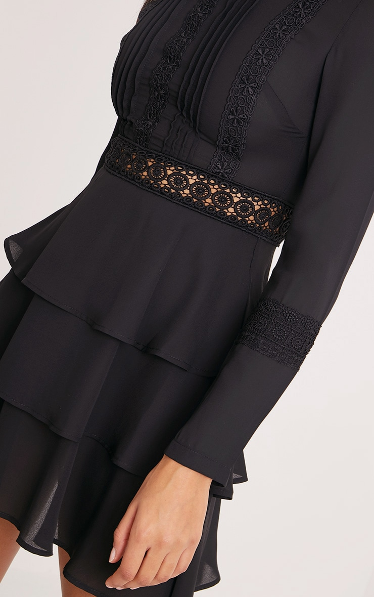 Hope Black Crochet Lace High Neck Ruffle Swing Dress 5