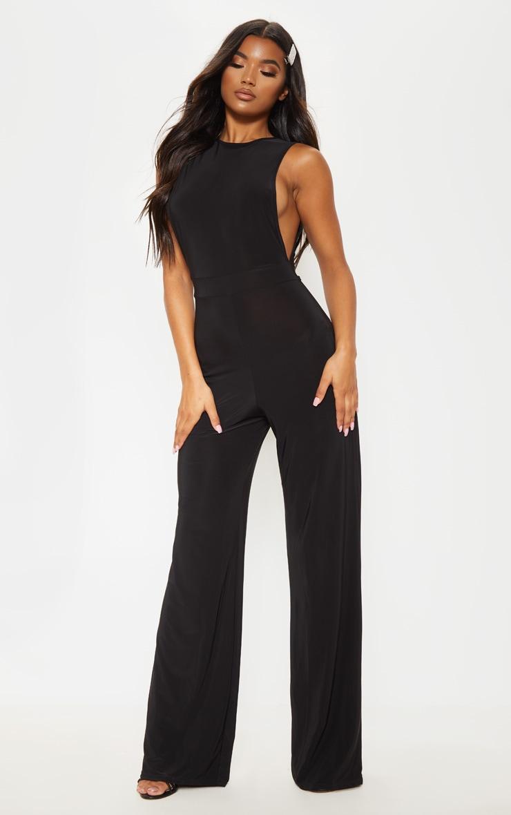 Black Slinky Side Boob Jumpsuit 4
