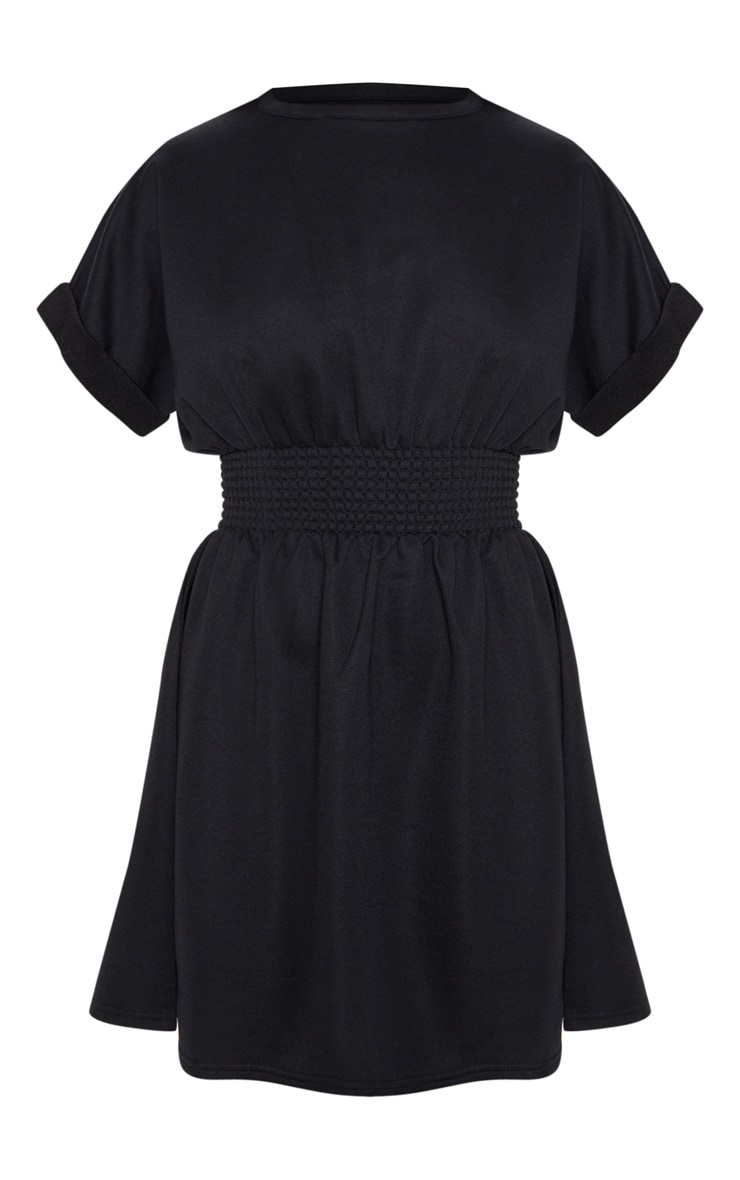 Black Puff Sleeve Shirring Detail Jumper Dress 3