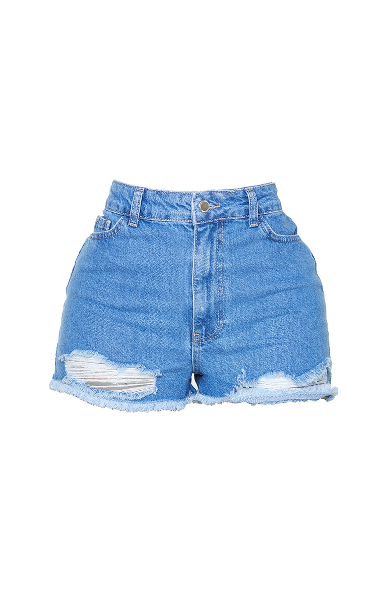 PRETTYLITTLETHING Shape Mid Blue Wash Distressed Hem Denim Shorts 6