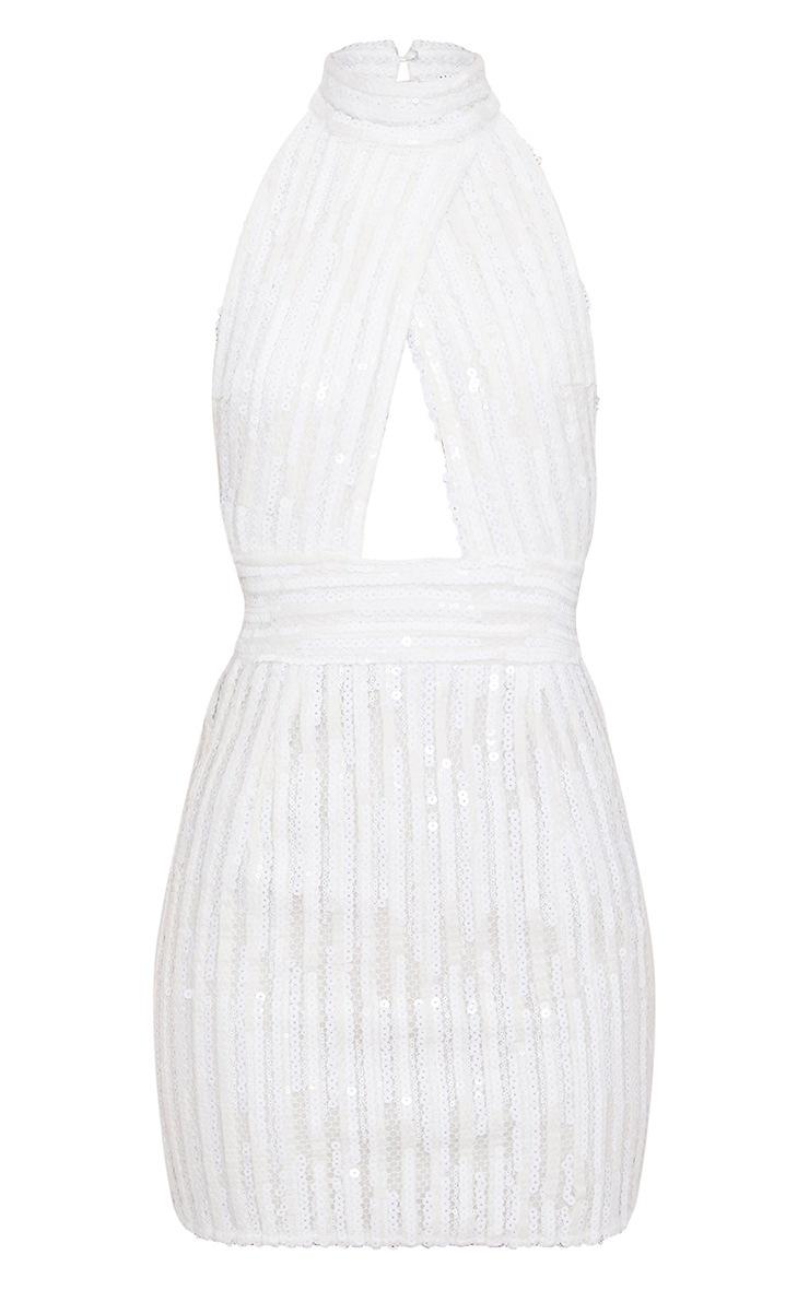 White Sequin Backless High Neck Cross Over Detail Bodycon Dress 3