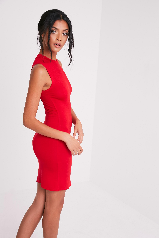 Rebecca Red High Neck Bodycon Dress 4
