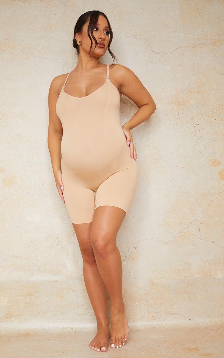 Maternity Camel Seamless Nursing Lingerie Bodysuit 3