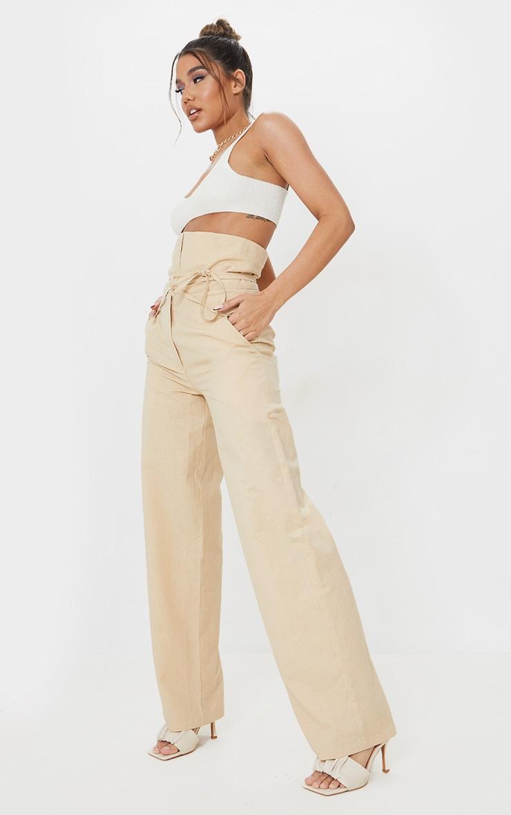 Stone High Waisted Linen Wide Leg Pants 1