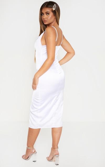 White Strappy Satin Cowl Midi Dress